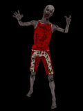 Zombie on black. Skeletal decaying zombie with bloody mouth in tattered stained clothing isolated on black Stock Photo