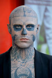 Zombie Boy. MONTREAL CANADA 08 21 2015: Rick Genest is a Canadian artist, actor and fashion model born in Chateauguay Quebec. He is also known as Zombie Boy for Royalty Free Stock Photo