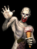 Zombie Brain Cream Cone 1. Zombie Brain Cream Cone - An angry undead zombie holding a Brain Cream Cone with brains, worms, a finger and blood on an ice cream Royalty Free Stock Photos