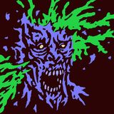 Zombie brains explode. Vector illustration. Genre of horror. Terrible character for Halloween Stock Image