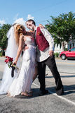 Zombie Bride And Groom Pose At Atlanta Pub Crawl Event Stock Images