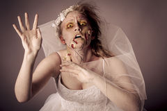 Zombie Bride. Undead Young Woman as a Zombie Bride shot in studio Royalty Free Stock Images