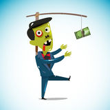 Zombie businessman chasing a money hanging from a stick. trying. To reach money. working hard for money concept.  illustration Stock Images