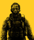 Zombie businessman drawing. Illustration on theme of apocalypse. Royalty Free Stock Photos