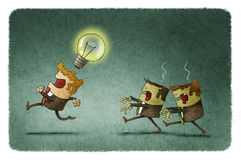 Zombie businessmen steal ideas. Businessman with an idea run away because two zombie businessmen want to steal it royalty free illustration