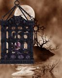 Zombie in a cage - Halloween Figure Stock Image