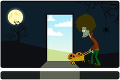 The zombie with the cart against a dark background Stock Photos