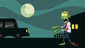 Zombie Cartoon Character Walking With Hands In Front In Тhe Night