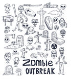 zombie cartoon doodle, vector illustration Royalty Free Stock Photos