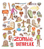 Zombie cartoon doodle, vector illustration Stock Photos