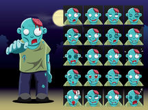 Zombie Cartoon Emotion faces Vector Illustration Stock Images