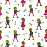 Zombie cartoon teen couple seamless pattern. Junior fashion street background Royalty Free Stock Image