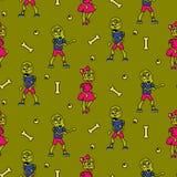 Zombie cartoon teen couple seamless pattern. Junior green background Stock Image