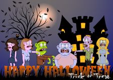 Zombie and Castle Vector Illustration for Happy Halloween Stock Image