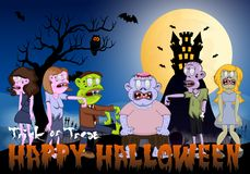 Zombie and Castle Vector Illustration for Happy Halloween Stock Images