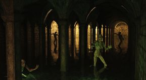 Zombie Catacombs. Dark flooded underground catacombs prowled by undead zombies, 3d digitally rendered illustration Stock Image
