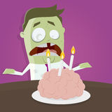 Zombie celebrating his birthday Royalty Free Stock Photography