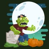Zombie in A Cemetery royalty free illustration