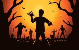 Zombie che cammina fuori dalla tomba illustrazione di stock