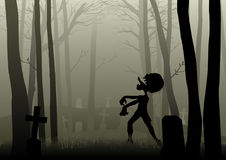 Zombie che cammina sul cimitero in legno scuro illustrazione di stock