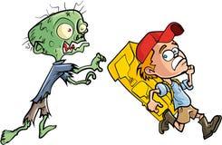 Zombie che insegue un viaggiatore con zaino e sacco a pelo del ragazzo Immagini Stock