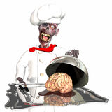 Zombie Chef. Brains, it's what's for Dinner: A zombie wearing a chef uniform and hat, holding a silver tray loaded with a brain sitting in a puddle of blood Royalty Free Stock Photography