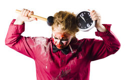 Zombie with clock and hammer Stock Image