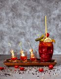 The Zombie cocktail made of fruit juices, liqueurs, and various rums stock photo