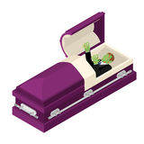 Zombie in coffin. Green dead man lying in wooden casket. Corpse Royalty Free Stock Photo
