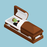 Zombie in coffin. Green dead man lying in wooden casket. Corpse Stock Photography