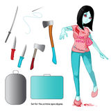 Zombie collection. Zombie girl. Stock Photos