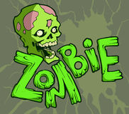 Zombie. Colorful halloween illustration with the creepy funny cartoon zombie character and a cartoon zombie word royalty free illustration