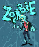 Zombie. Colorful halloween illustration with the creepy funny cartoon walking zombie character and a cartoon zombie word Royalty Free Stock Image