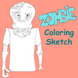 Zombie coloring sketch vector illustration Stock Image
