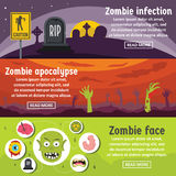 Zombie coming banner horizontal set, flat style. Zombie coming banner horizontal concept set. Flat illustration of 3 zombie coming vector banner horizontal Stock Photos