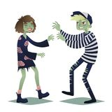 Zombie couple. Cute young woman and man in style of Dead Monsters going for Halloween party. Vector. Stock Photography
