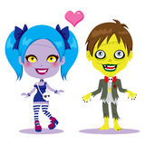 Zombie Couple In Love. Cute zombie couple in love together ready to celebrate Halloween party stock illustration