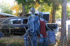 Zombie couple in yard stock photo