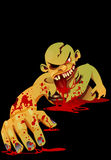 Zombie crawling. Vector illustration of a bloody of zombie crawling in the dark Stock Photography