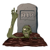 Zombie crawls from the grave  background. Vector illustration Stock Images