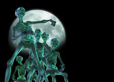 Zombie creatures. Zombie like creatures walking with a bright moon behind them royalty free illustration