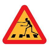 Zombie Crossing. A caution road sign warning you that zombies cross in the immediate area, pictured with a zombie running and reaching out. Isolated royalty free illustration