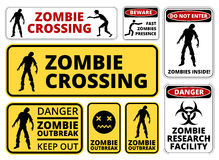 Zombie. Crossing Infected  Apocalypse Signs, Symbols and Billboards Vector eps8 Stock Image