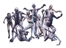 Zombie Crowd Attack. 3D render of a crowd of horrific looking zombies Stock Photos