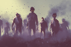 Zombie crowd walking at night. Halloween concept,illustration painting