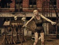 Zombie davanti ad una costruzione distrussa Fotografie Stock