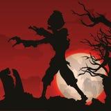 Zombie Dawn Scene in Graveyard, Vector Illustration Royalty Free Stock Image