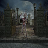 Zombie - de Scène van Halloween Stock Afbeelding
