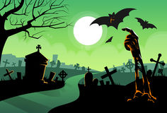 Zombie Dead Skeleton Hand From Ground Vampire Bat. Halloween Banner Cemetery River Graveyard Card Vector Illustration Royalty Free Stock Photos