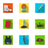 Zombie, dead, skull, and other web icon in flat style. Apocalypse, halloween icons in set collection. Zombie, dead, skull, and other  icon in flat style Stock Photography